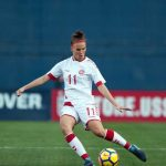 Denmark's Katrine Veje in a friendly against the U.S. (Manette Gonzales)