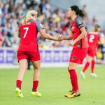 Christine Sinclair congratulates Lindsey Horan after Horan's goal puts the Thorns up, 1-0. (Monica Simoes)