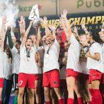 The Portland Thorns celebrating their 2017 NWSL Championship. (Monica Simoes)