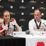 Lindsey Horan and head coach Mark Parsons during the 2017 NWSL Championship postgame conference. (Monica Simoes)