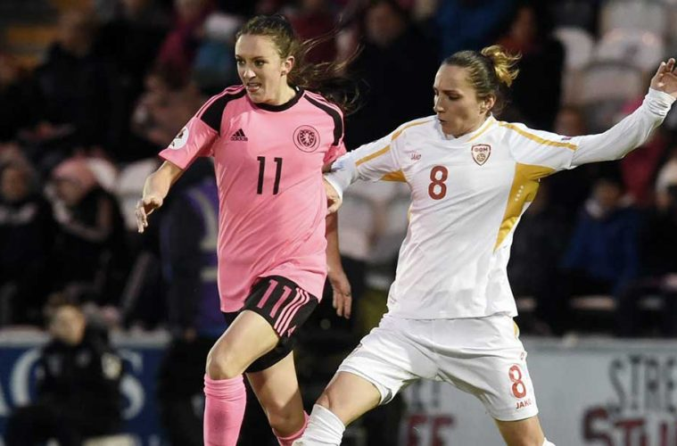Lisa Evans of Scotland against Macedonia. (YouTube)