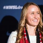 Mallory Eubanks addressing the media at the 2018 NWSL Collge Draft (Monica Simoes).