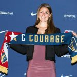 Morgan Reid, North Carolina's pick at No. 38, at the 2018 NWSL Collge Draft (Monica Simoes)
