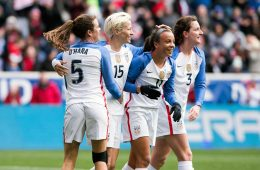 Kelley O'Hara, Megan Rapinoe, and Andi Sullivan celebrate Mallory Pugh's goal (11) during the 2018 SheBelieves Cup. (Monica Simoes)
