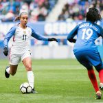USA's Mallory Pugh takes on France's Griedge Mbock Bathy during the 2018 SheBelieves Cup. (Monica Simoes)