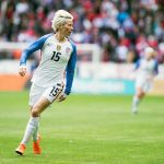 Megan Rapinoe in action against France at the 2018 SheBelieves Cup. (Monica Simoes)