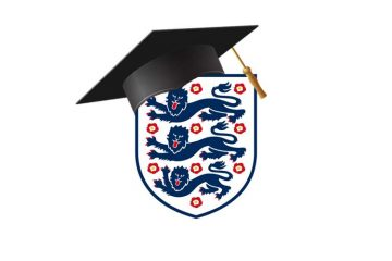 England crest with graduation cap on top