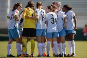 Sky Blue FC pregame huddle. (Shane Lardinois)