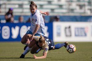 Savannah McCaskill (Sky Blue FC) and Merritt Mathias (North Carolina Courage). (Shane Lardinois)