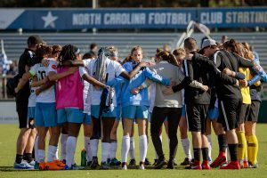 Sky Blue FC post-match huddle. (Shane Lardinois)