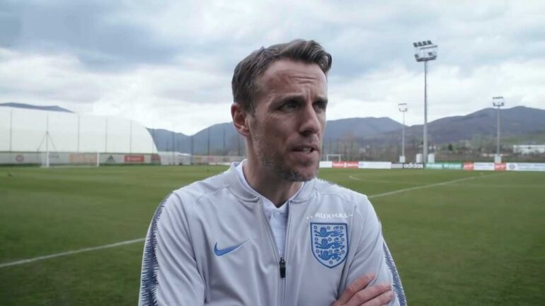 Phil Neville, head coach of England. (YouTube, England FA)