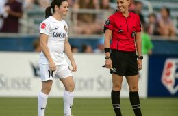 Diana Matheson (Utah Royals FC) shares a laugh with the ref. (Shane Lardinois)