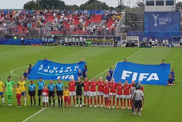 England's starting lineup against Brazil during group-stage play at the 2018 U-20 World Cup. (Richard Laverty)