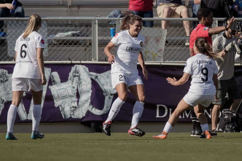 Katie Stengel celebrating after scoring. (Shane Lardinois)