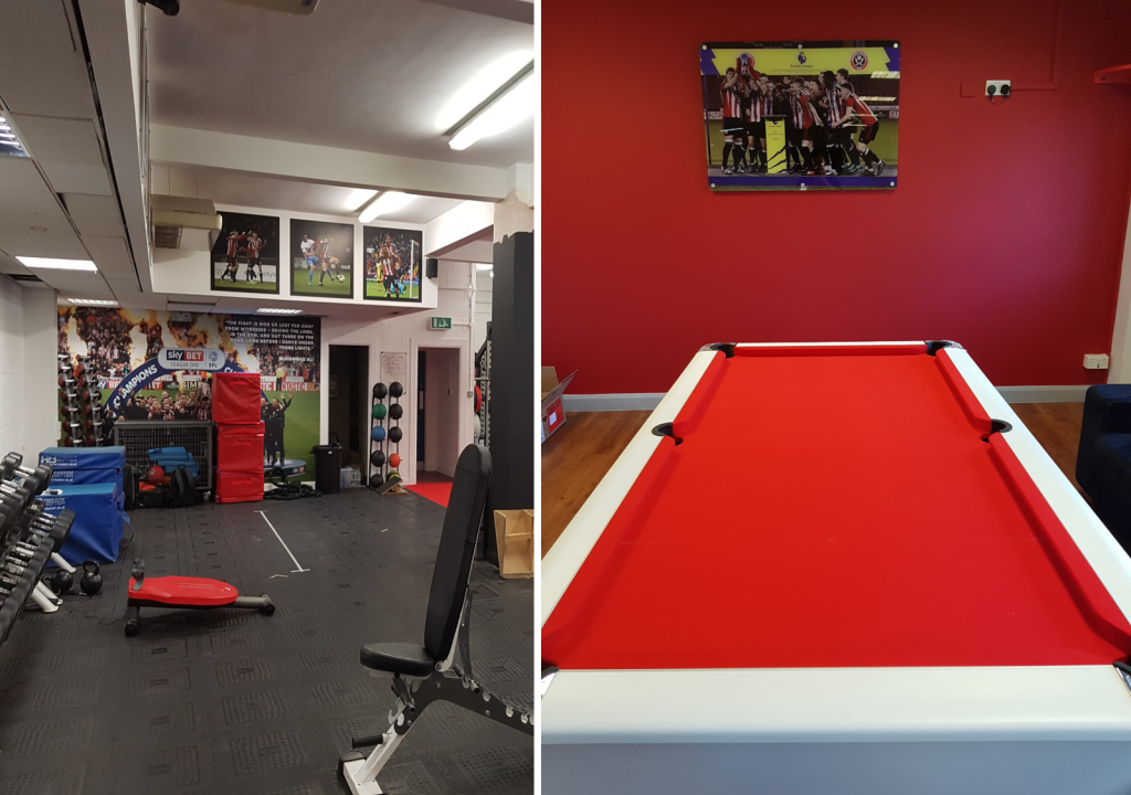 The team has access to the same facilities as the men's side, including the academy gym and a cool-down area including a pool table.