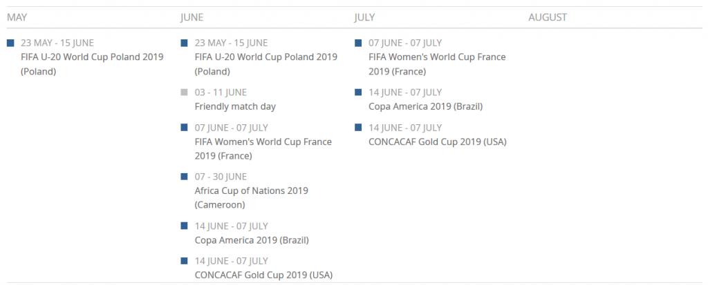 2019 FIFA Calendar