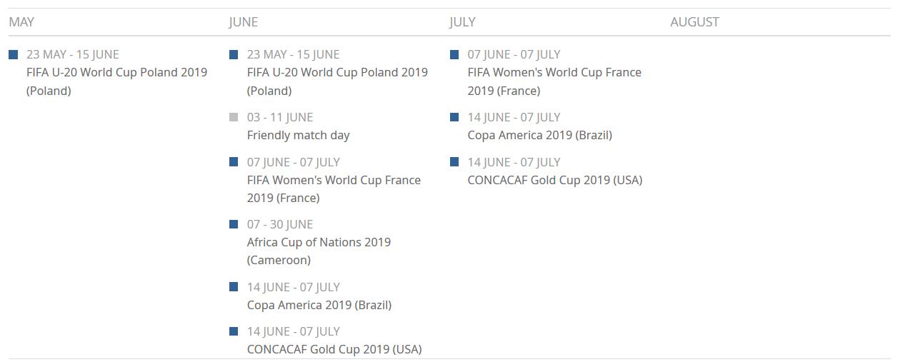 Fifa 2019 Calendar 2019 fifa summer calendar » Our Game Magazine