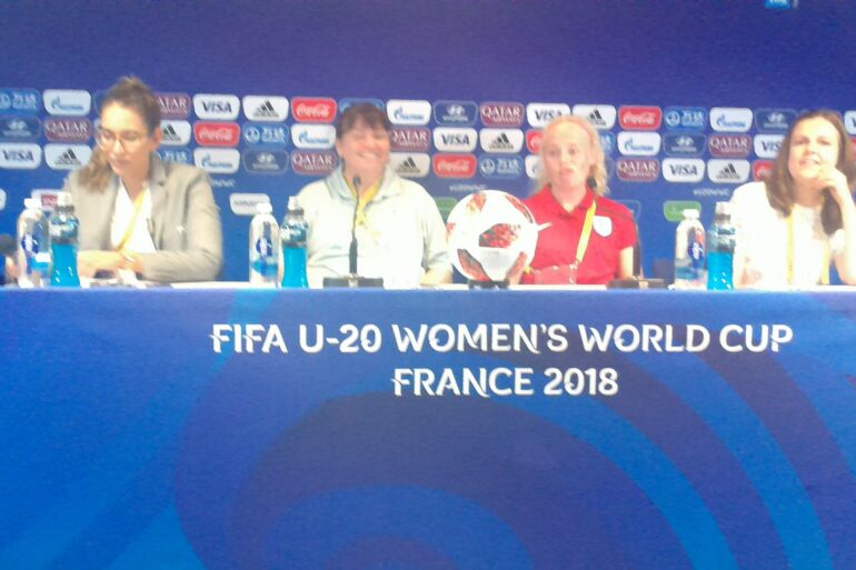 Players from England's U-20 team at the press conference before their first match at the 2018 U-20 World Cup.
