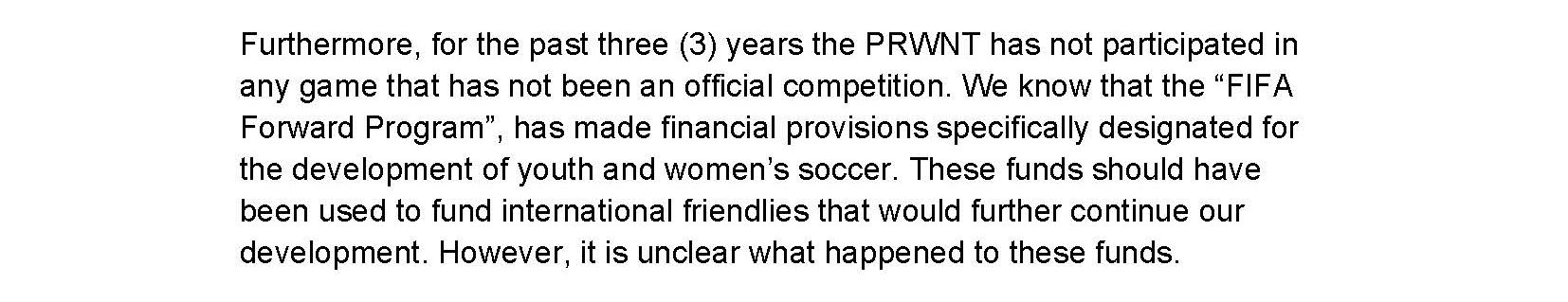 Excerpt from the letter the members of the Puerto Rico National Team sent to the federation.