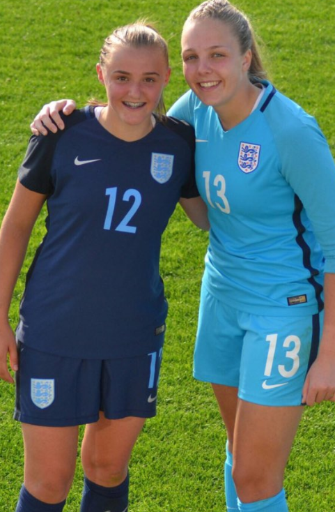 Georgia Stanway and Ellie Roebuck during a England youth national camp.