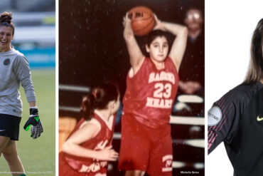Michelle Betos as a young basketball player, with the Portland Thorns (Ray Terrill), and Reign FC headshot (Reign FC).