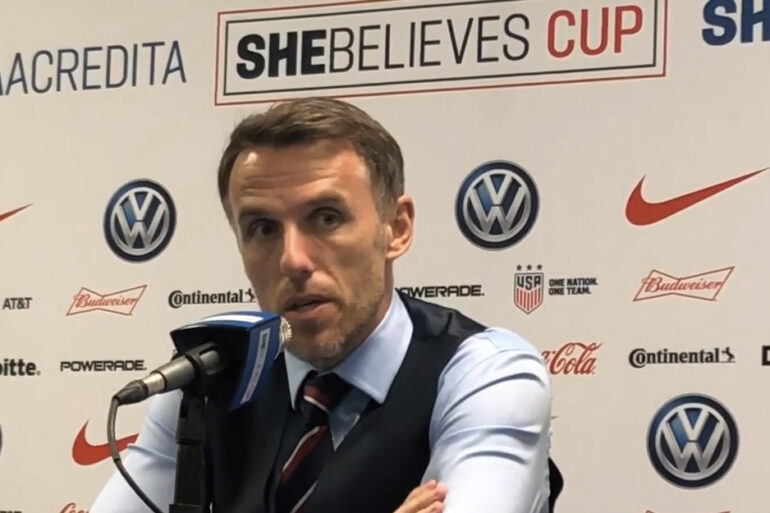 England head coach Phil Neville at a postgame news conference at the 2019 SheBelieves Cup.