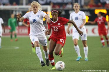 Canada's Ashley Lawrence against England. (Tom Szczerbowski / Getty Images)