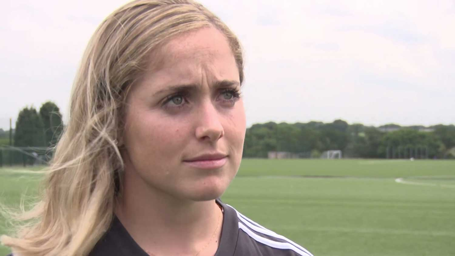 Brianna Visalli giving interview about her move to Birmingham City. (Birmingham City TV)