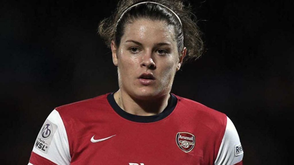 Jen Beattie close-up while playing for Arsenal. (The FA)