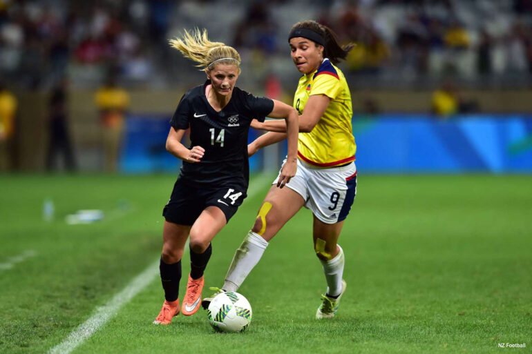 New Zealand's Katie Bowen on the attack. (NZ Football)