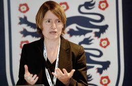 The FA's Director of Women's Football Kelly Simmons speaking to the media. (The FA)