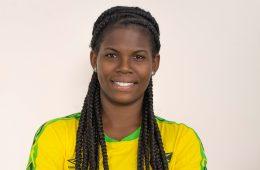 Headshot of Khadija Shaw in Jamaican National Team gear. (Dianaatflourish, Wiki Commons)