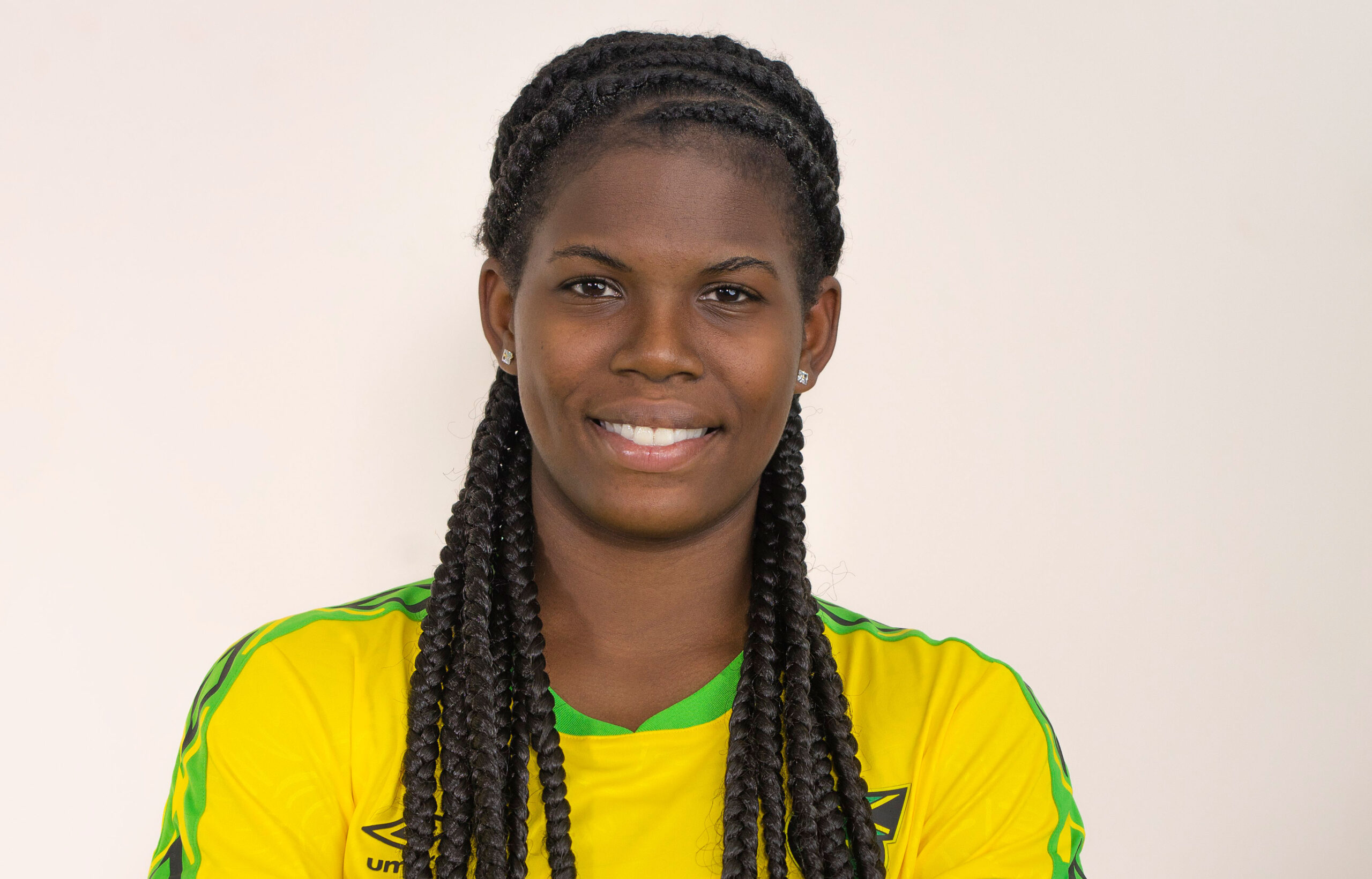 Headshot of Khadija Shaw in Jamaican National Team gear. (Dianaatflourish, Wiki Commons)