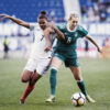 England's Nikita Parris and Germany's Lena Goessling battle for the ball during the 2018 SheBelieves Cup. (Monica Simoes/OGM)