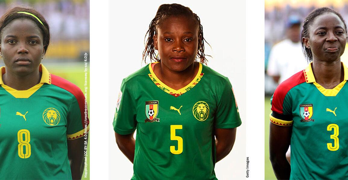 Headshots for Augustine Ejangue, Raissa Feudjio, and Ajara Nchout Njoya for Cameroon. (Happiraphael and Getty Images)