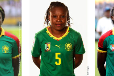 Headshots for Augustine Ejangue, Raissa Feudjio, and Ajara Nchout Njoya for Cameroon. (Happiraphael and Getty Images)