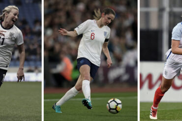 England's Toni Duggan, Abbie McManus, and Millie Bright.
