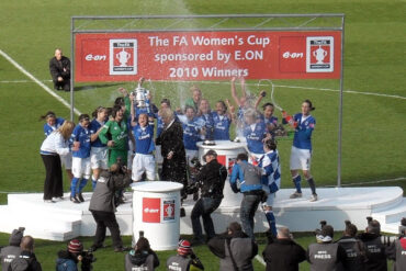 Everton players celebrating their2010 FA Cup final win.