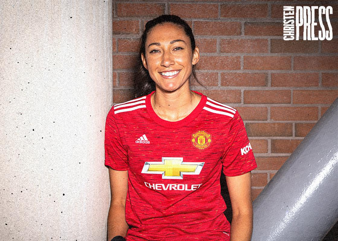 Christen Press in the red Manchester United kit. (Manchester United)