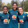 Lais Araujo (middle) with Formiga and Marta during camp with the Brazilian National Team.