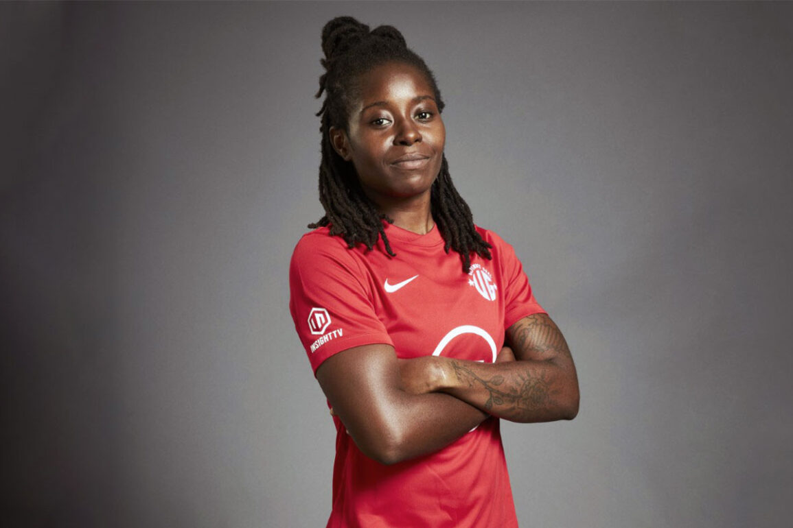 Sue Kumaning in her Ultimate Goal kit. (BT Sport)