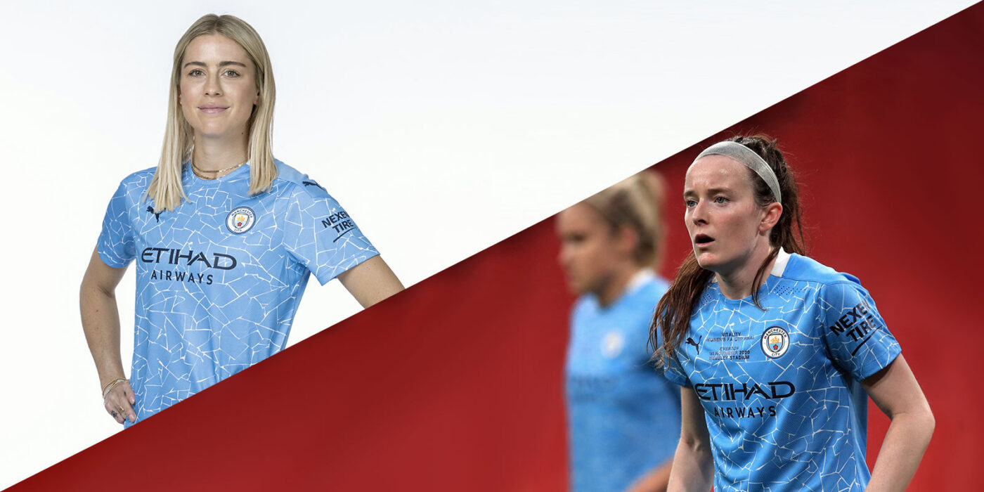 Abby Dahlkemper and Rose Lavelle split screen image in Manchester City uniforms. (Manchester City)