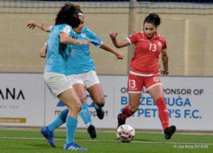 Malta's Maria Farrugia playing against Slovakia. (Malta FA)