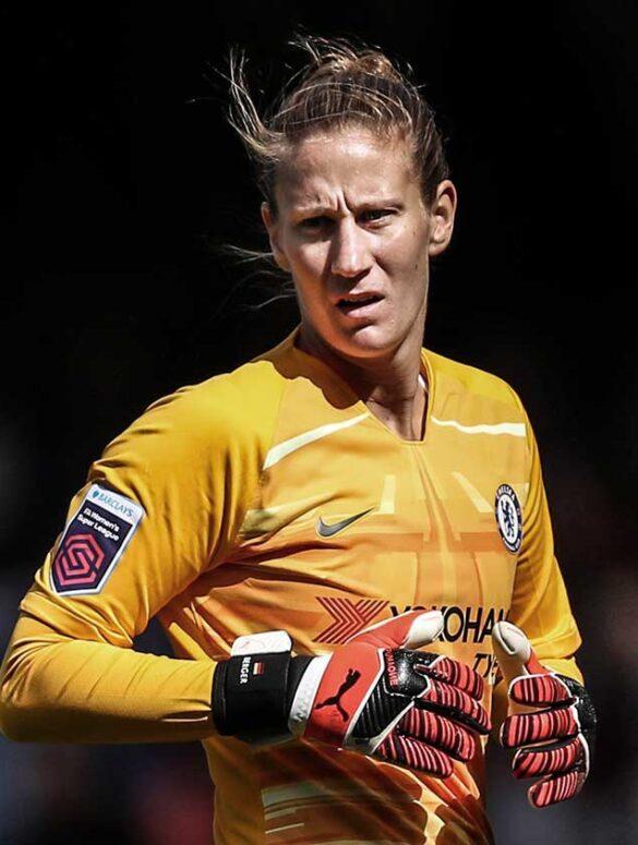 Goalkeeper Katrin-Ann Berger playing for Chelsea. (Chelsea FC)