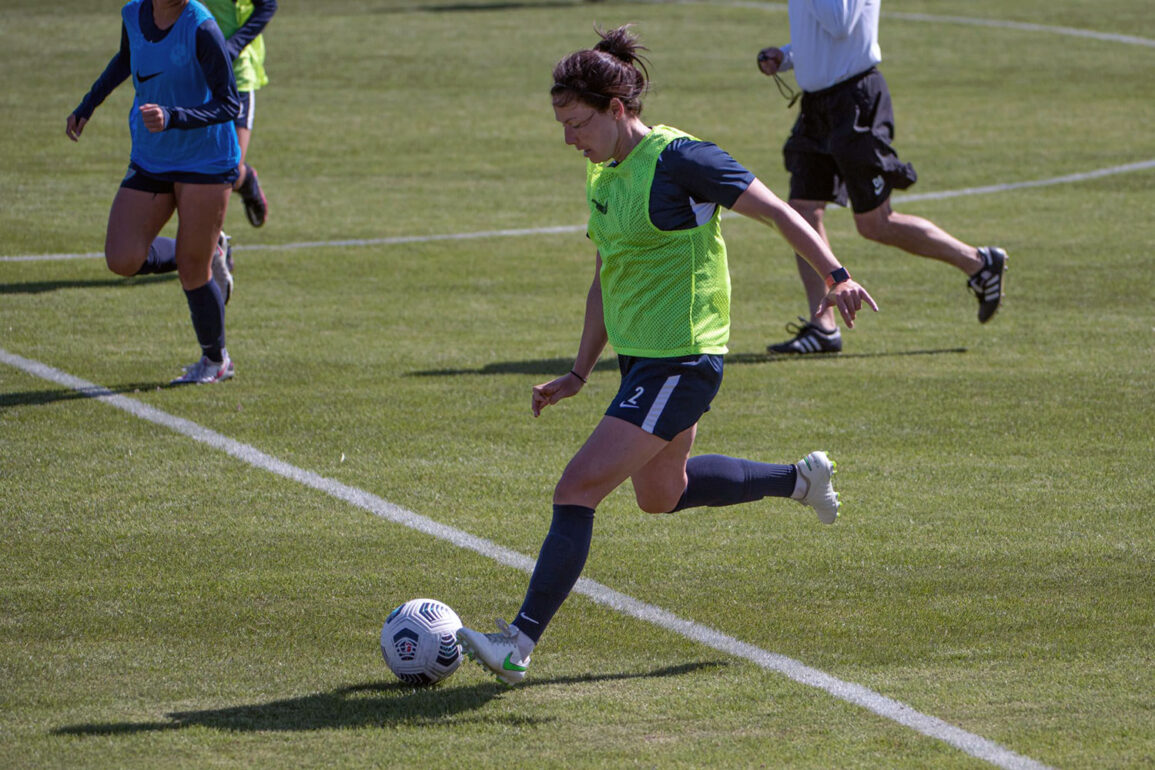 Rachel Corsie playing in a preseason match with Kansas City NWSL. (Kansas City NWSL)