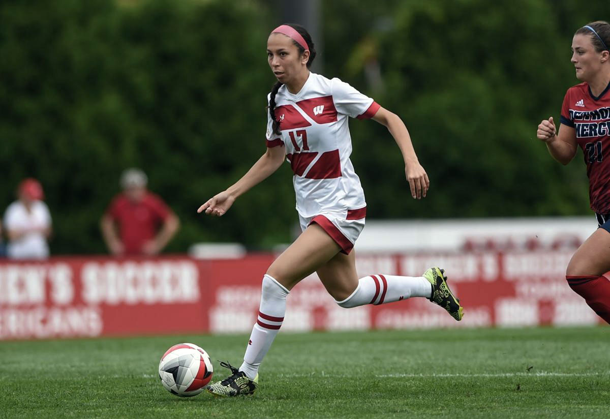 Victoria Pickett on the ball for Wisconsin. (Wisconsin)