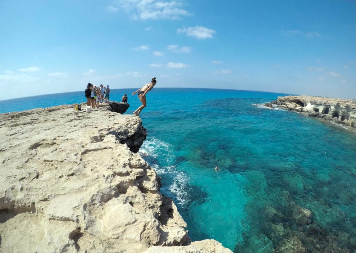 Havana Solaun cliff diving in Cyprus. (Havana Solaun)