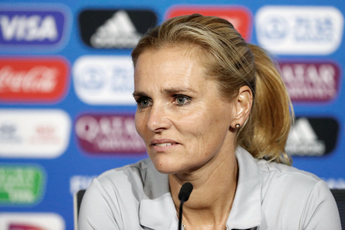 Sarina Wiegman address the press during a World Cup press conference. (Getty Images)